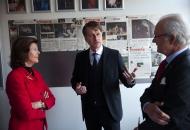 Foto från Deras Majestäter Konungen och Drottningens besök på dagens föreställning av Svenskbyborna. Visby 2014-03-29. Foto Stig Hammarstedt