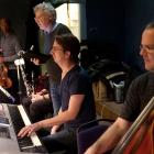 Repetition Svenskbyborna. Emilio Estrada, Pelle Hallberg, Simon Maurin, Nils Ossman. Foto Stig Hammarstedt